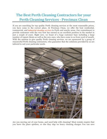 The Best Perth Cleaning Contractors for your Perth Cleaning Services - Precimax Clean