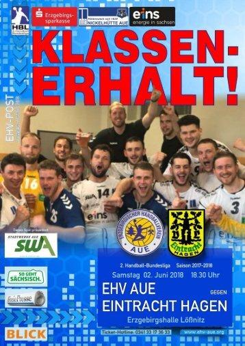 EHV-Post: EHV Aue gegen Eintracht Hagen