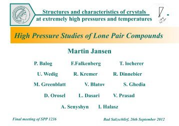 High Pressure Studies of Lone Pair Compounds