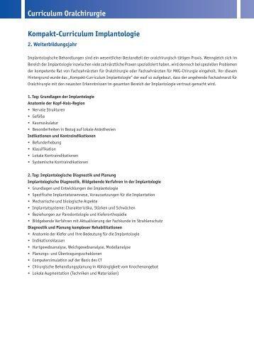 Kompakt-Curriculum Implantologie Curriculum Oralchirurgie - eazf