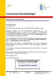 Curriculum Parodontologie - Fortbildungsakademie Zahnmedizin ...