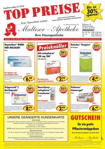 Angebote der Malteser Apotheke in Nürnberg im Juni