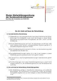 Muster-Weiterbildungsordnung der Bundeszahnärztekammer - Die ...