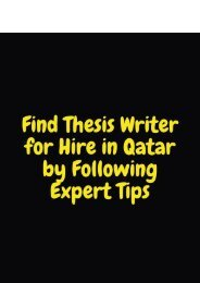 Find Thesis Writer for Hire in Qatar by Following Expert Tips