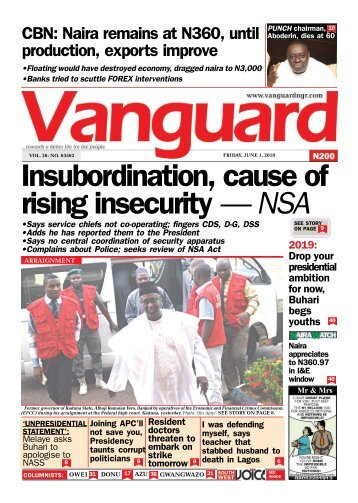 01062018 - Insubordination, cause of rising insecurity — NSA