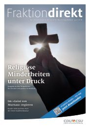 Religiöse Minderheiten unter Druck   Fraktion direkt,  Juni 2018