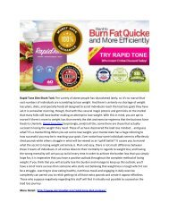 Rapid Tone Diet - Safe Diet Pill For Weight Loss!