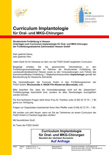 Curriculum Implantologie - FAZH - Landeszahnärztekammer Hessen