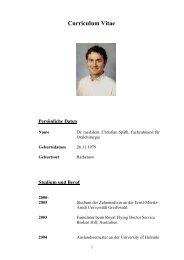 Curriculum Vitae Persönliche Daten - ID Deutschland