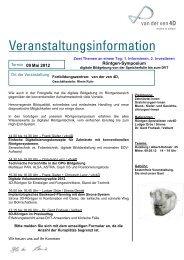 Veranstaltungsinformation - van der Ven Dental Gmbh & Co. KG