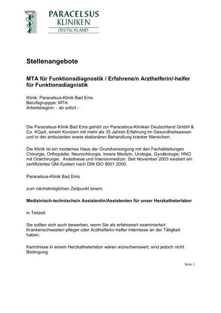 Mw Bei Der Paracelsus Kliniken Deutschland Gmbh Co Kgaa