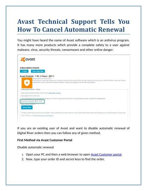 avast online portal