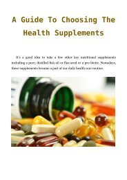 A Guide To Choosing The Health Supplements