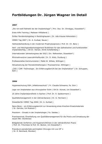 Fortbildungen Dr. Jürgen Wagner im Detail - Zahnärzte Dr. Wagner ...
