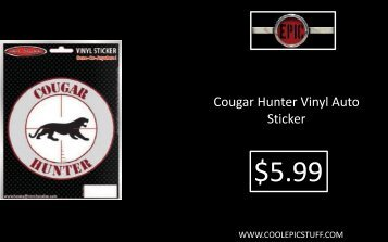 Cougar Hunter Vinyl Auto Sticker