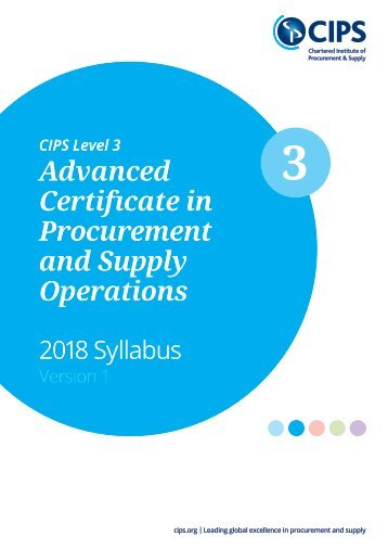 CIPS Level 3 Certificate in Procurement and Supply Operations 2018 Syllabus