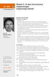 24. MAI Modul 9–10 des Curriculums Implantologie Implantatprothetik