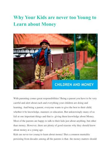 Why Your Kids are never too Young to Learn about Money