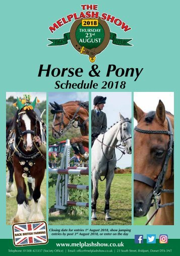 Horse and Pony Schedule 2018