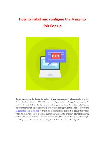 How to install and configure the Magento Exit Pop up by Knowband?