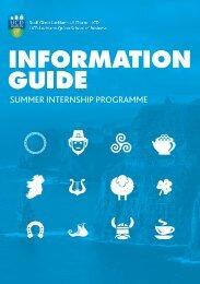 UCD International Visiting Students Summer Internship Programme Information Guide 2018