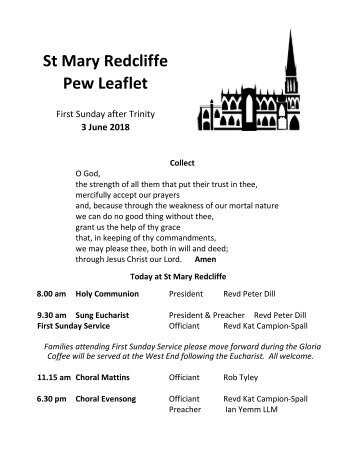 St Mary Redcliffe Church Pew Leaflet - June 3 2018