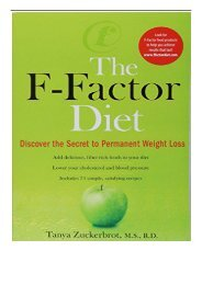 [PDF] F-Factor Diet Discover the Secret to Permanent Weight Loss Discover the Secret of Permanent Weight