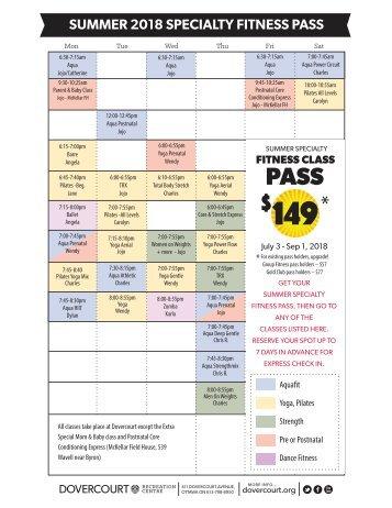 Summer 2018 SSFP schedule  and descriptions