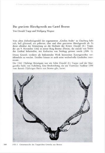 Das gravierte Hirschgeweih aus Castel Beseno