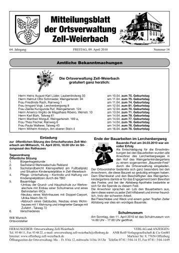 Mitteilungsblatt der Ortsverwaltung Zell-Weierbach