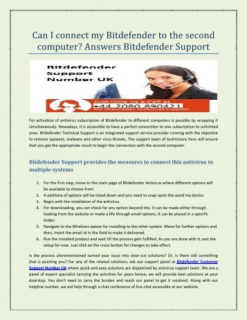 Can I connect my Bitdefender to second computer  1 June Send to Tarun rawat