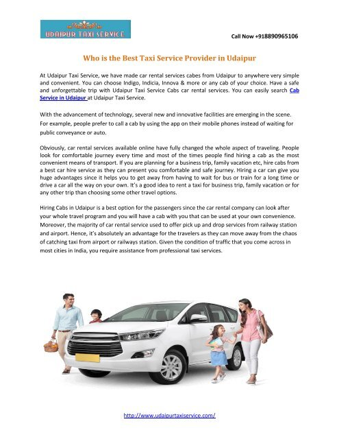 Who is the Best Taxi Service Provider in Udaipur