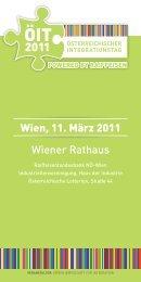 Wiener Rathaus Wien, 11. März 2011 - Verein Wirtschaft für Integration