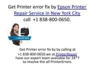 Get Printer error fix by Epson Printer Repair Service in New York City call  +1 838-800-0650