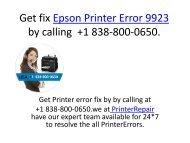 Get fix Epson Printer Error 9923 by calling  +1 838-800-0650