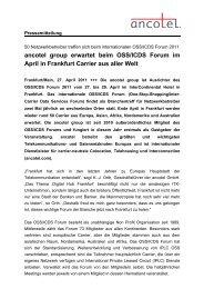 ancotel group erwartet beim OSS/ICDS Forum im ... - ancotel GmbH