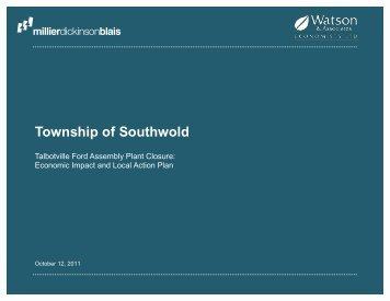Township of Southwold Economic Impact Study on ... - County of Elgin