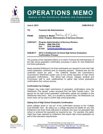 operations memo - CSAC California Student Aid Commission - State ...