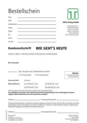 Kundenzeitschrift - MTD-Verlag GmbH