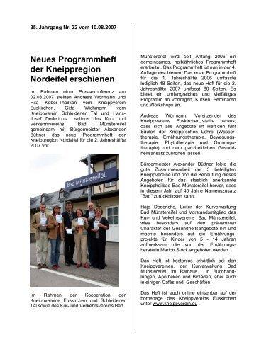 Neues Programmheft der Kneippregion Nordeifel erschienen