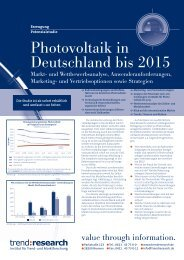 Photovoltaik in Deutschland bis 2015 - trend:research