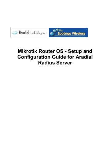 Mikrotik Router OS - Setup and Configuration Guide for Aradial ...