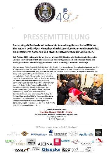 Pressemitteilung Barber Angels Abensberg Juni 2018