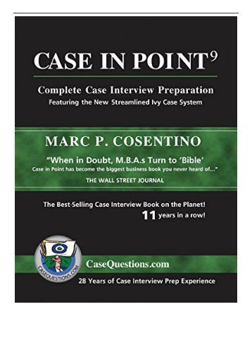 eBook Case in Point 9 Complete Case Interview Preparation Free books
