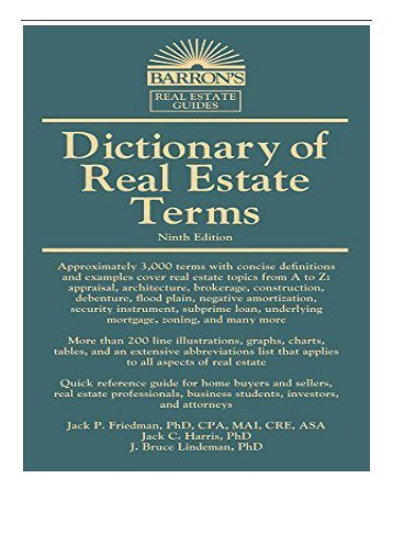 eBook Dictionary of Real Estate Terms Barron's Business Dictionaries  Barron's Dictionary of Real Estate