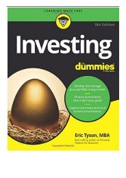 eBook Investing For Dummies 8e For Dummies Lifestyle  Free online