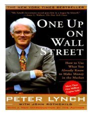 eBook One Up On Wall Street How To Use What You Already Know To Make Money In The Market A Fireside
