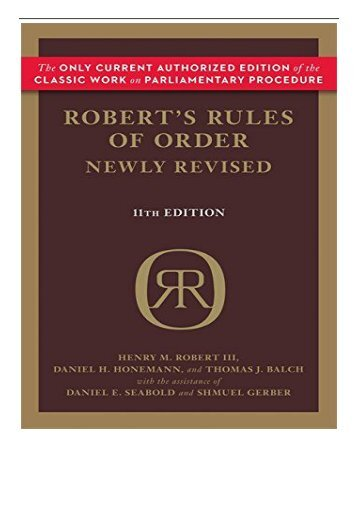 eBook Robert's Rules of Order Newly Revised 11th edition Robert's Rules of Order Paperback  Free eBook