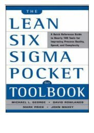 eBook The Lean Six Sigma Pocket Toolbook A Quick Reference Guide to 100 Tools for Improving Quality