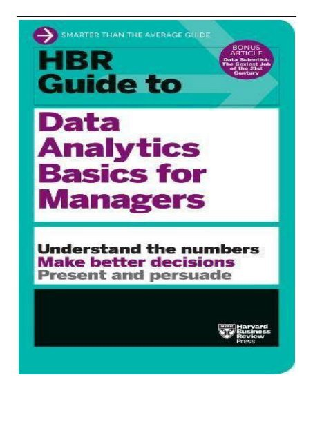 PDF Download HBR Guide to Data Analytics Basics for Managers